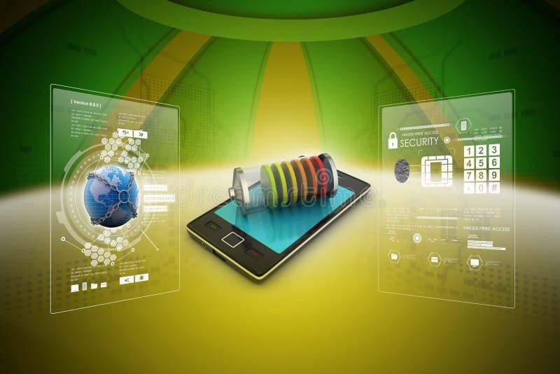Slimme telefoon die met batterij belasten vector illustratie