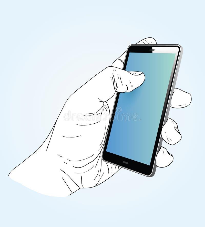 Slimme telefoon in een hand Vector illustratie stock illustratie