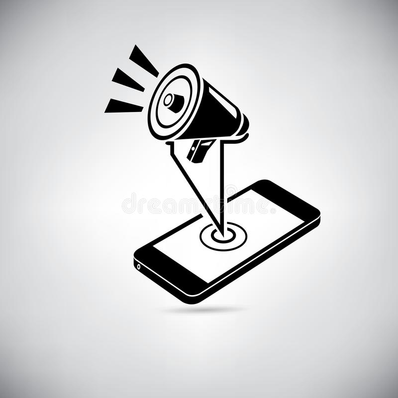 Slimme telefoon en marketing stock illustratie