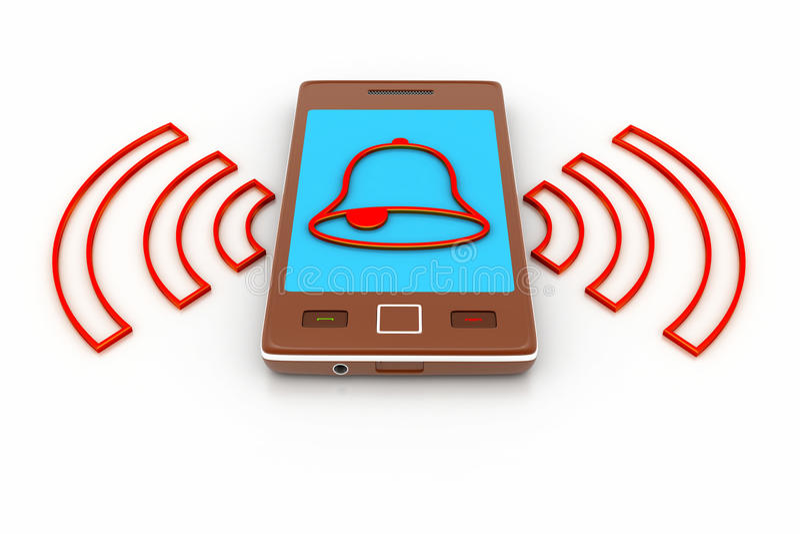 Slimme telefoon met alarmmontages royalty-vrije illustratie