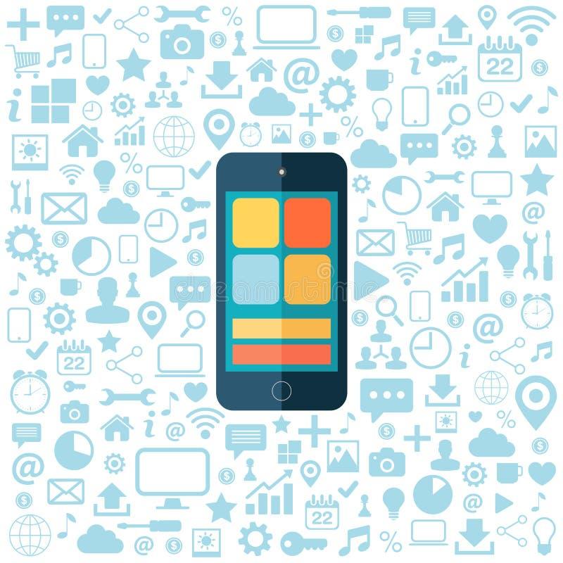Slimme telefoon met blauwe geplaatste pictogrammen Vlakke vectorillustratie stock illustratie