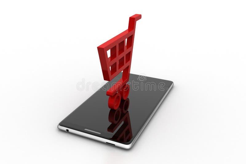 Slimme telefoon met boodschappenwagentje royalty-vrije illustratie
