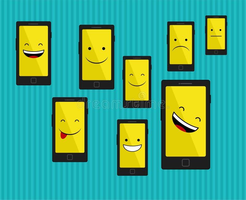 Slimme telefoon met emoties stock illustratie