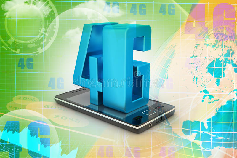 Slimme telefoon met 4G royalty-vrije illustratie