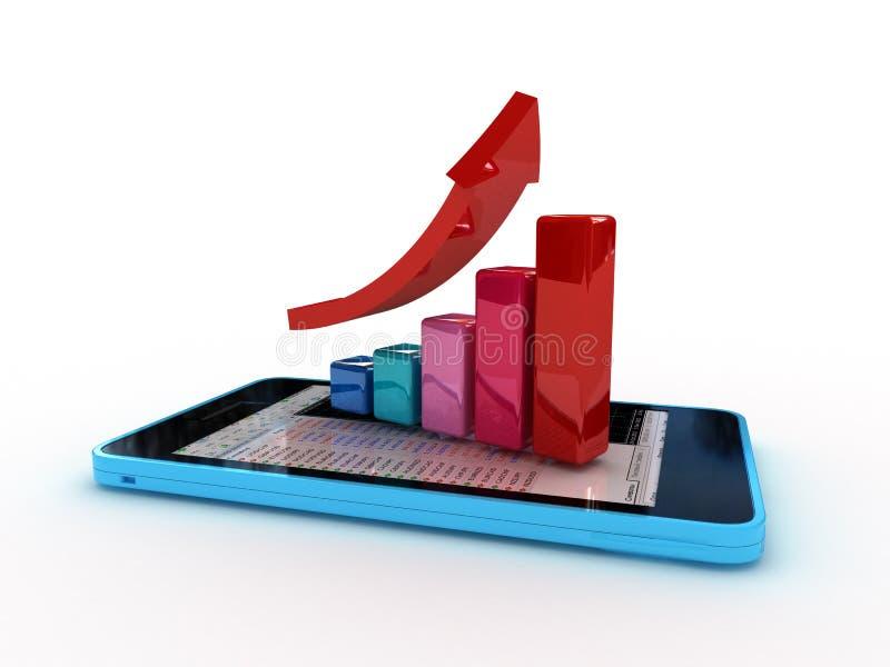 Slimme telefoon met grafiek vector illustratie