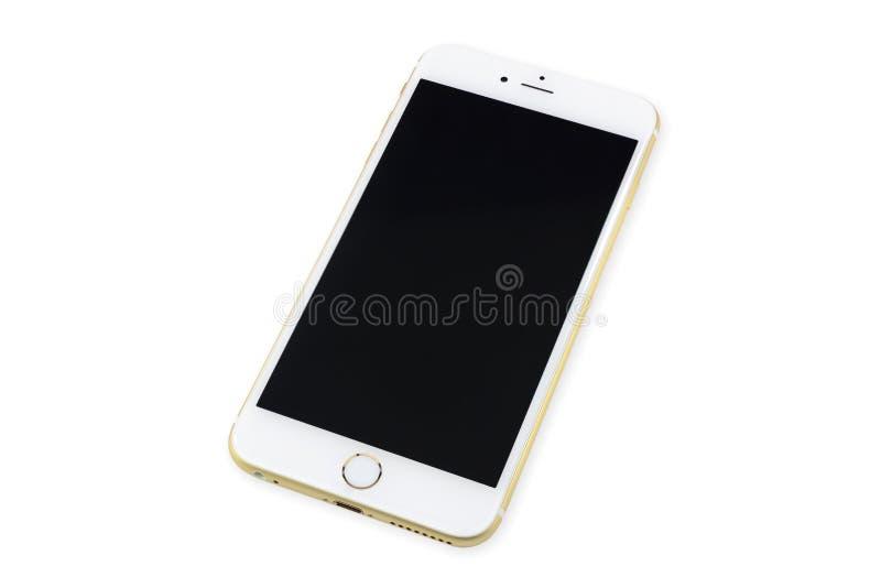 Slimme telefoon met het zwarte die scherm op wit wordt geïsoleerd royalty-vrije stock afbeelding