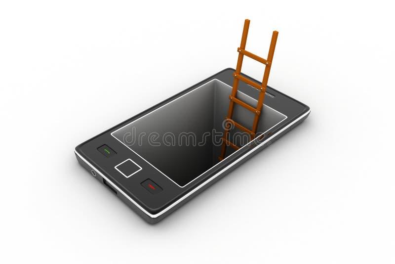 Slimme telefoon met ladder stock illustratie