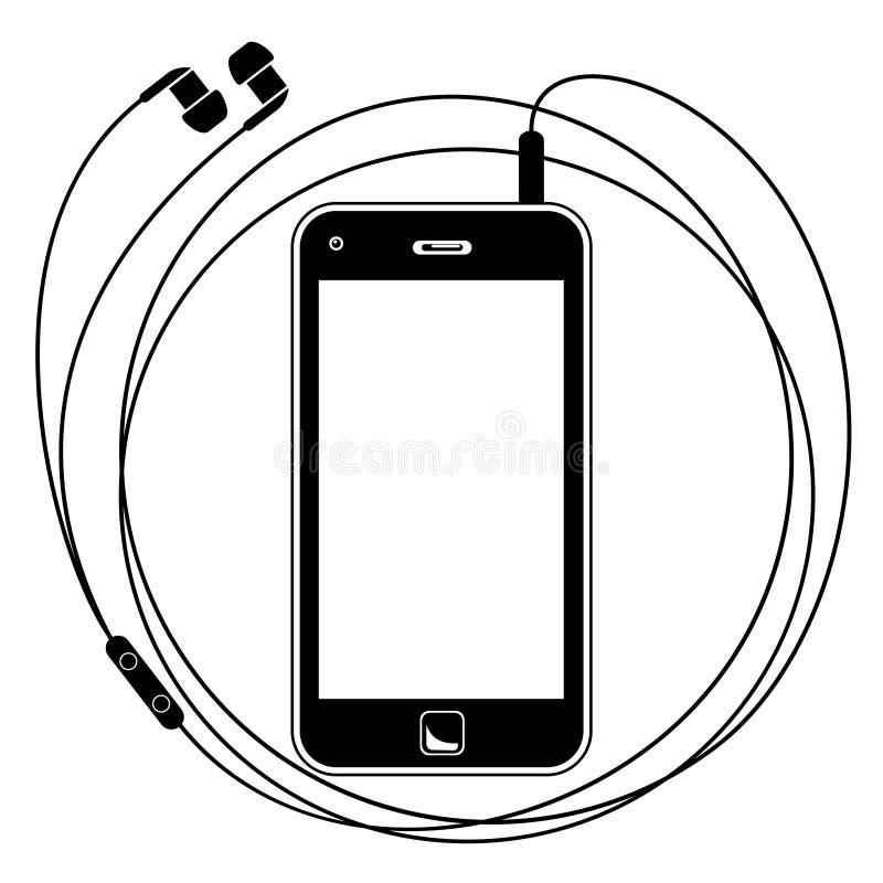Slimme telefoon met oortelefoons stock illustratie