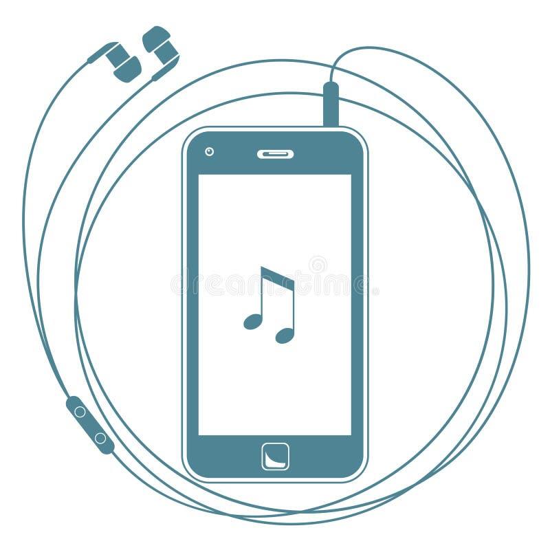 Slimme telefoon met oortelefoons vector illustratie