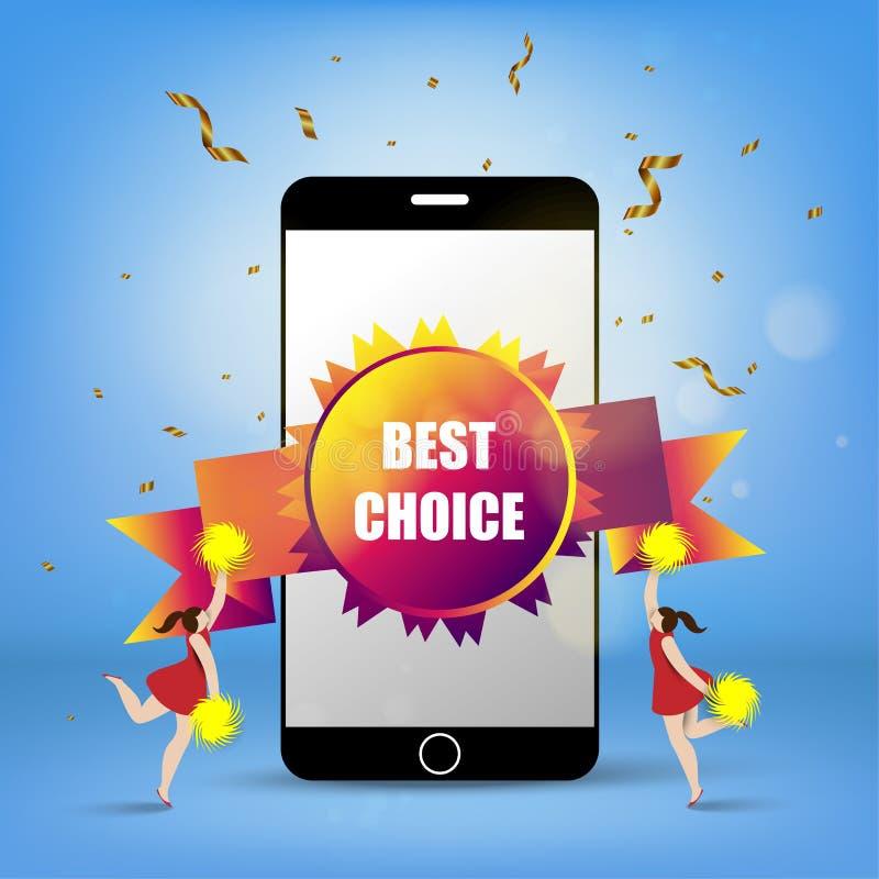 Slimme telefoon met rozet beste keus en jonge gelukkige cheerleader stock illustratie