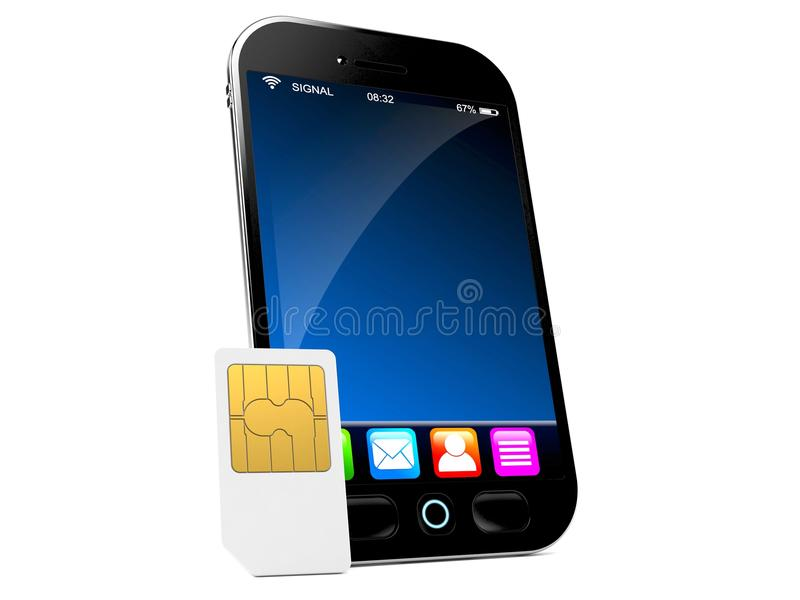 Slimme telefoon met SIM-kaart stock illustratie