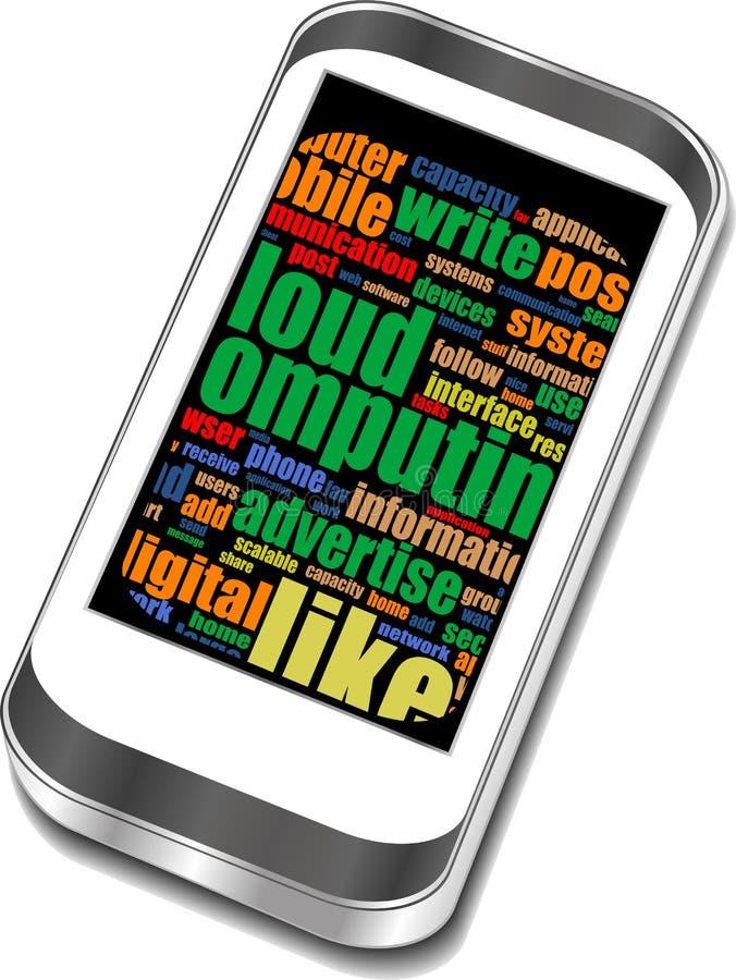 Slimme telefoon met sociale media woorden vector illustratie