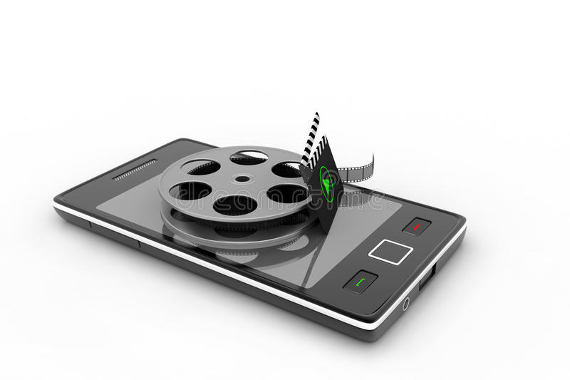 Slimme telefoon met spoel royalty-vrije illustratie
