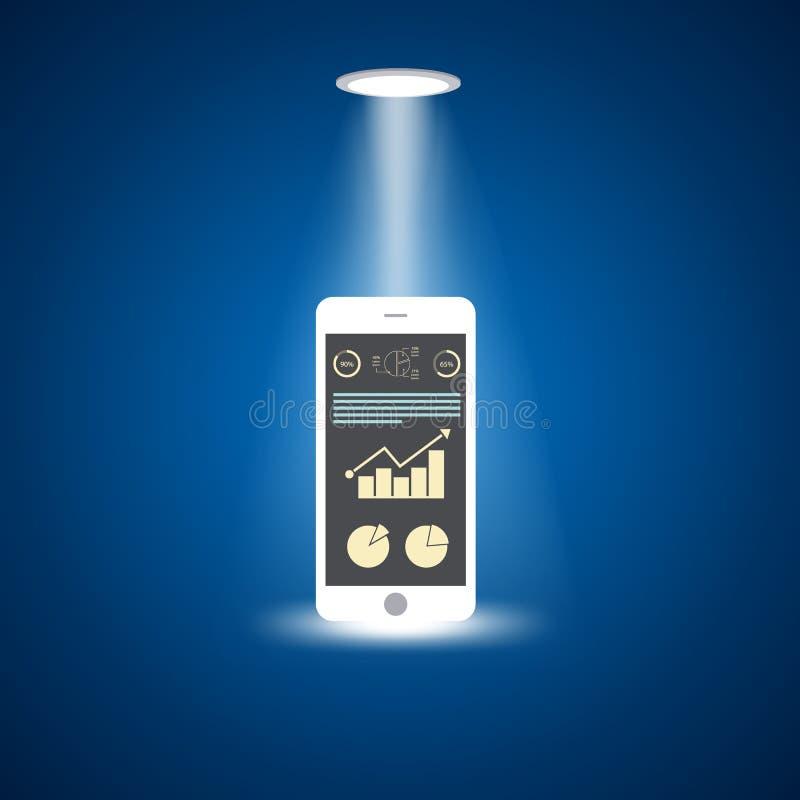 Slimme telefoon met stijgende grafiek op het scherm, vlak ontwerpconcept royalty-vrije illustratie