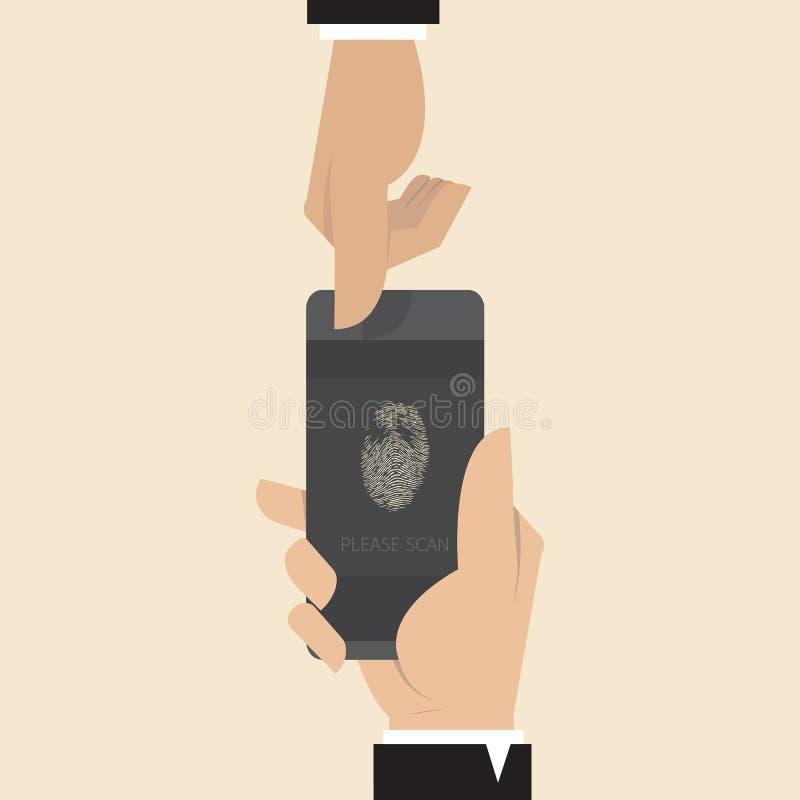 Slimme telefoon met Vingerafdrukscanner app royalty-vrije illustratie