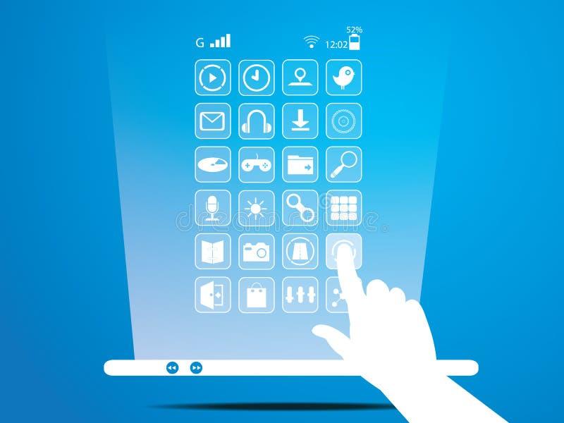 Slimme telefoon, Mobiele, Sociale media vector illustratie