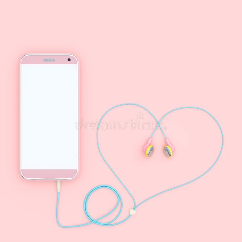 Slimme telefoon roze kleur en oortelefoons de roze vorm van het kleurenhart royalty-vrije illustratie
