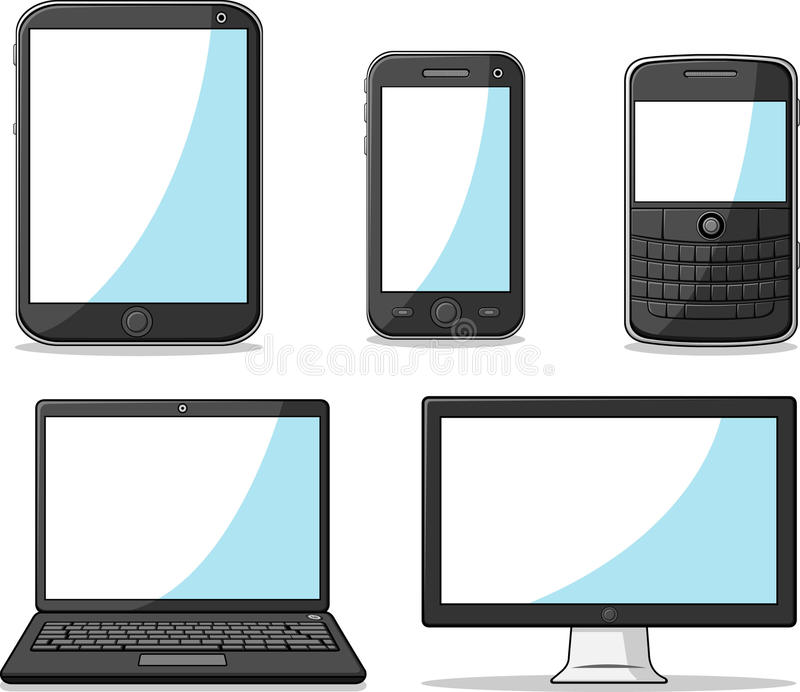 Slimme Telefoon, Tablet, Laptop en Computer stock illustratie