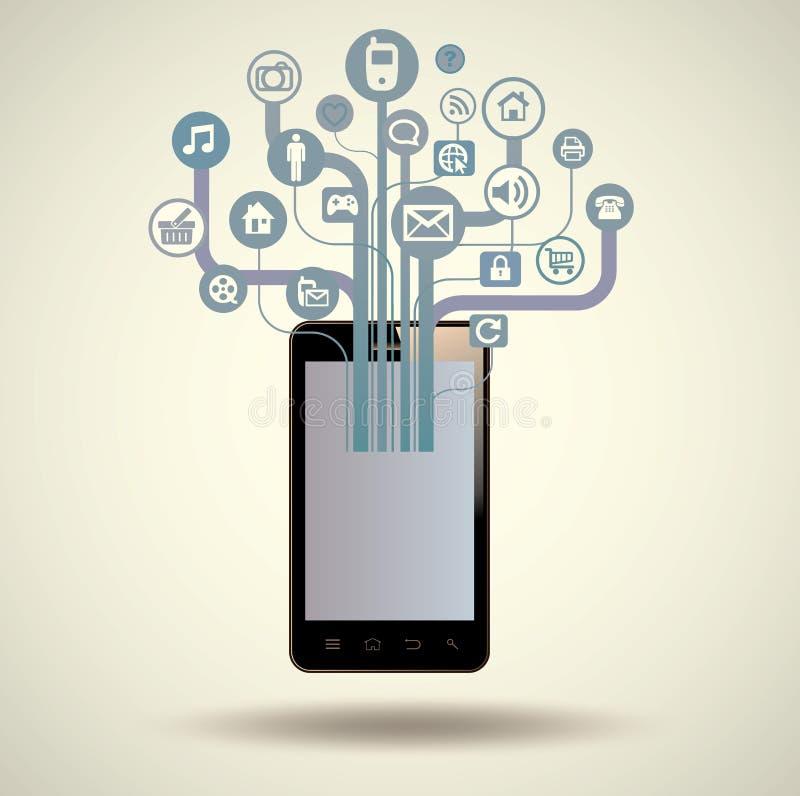 Slimme Telefoon, tablet, met Media Toepassing stock illustratie