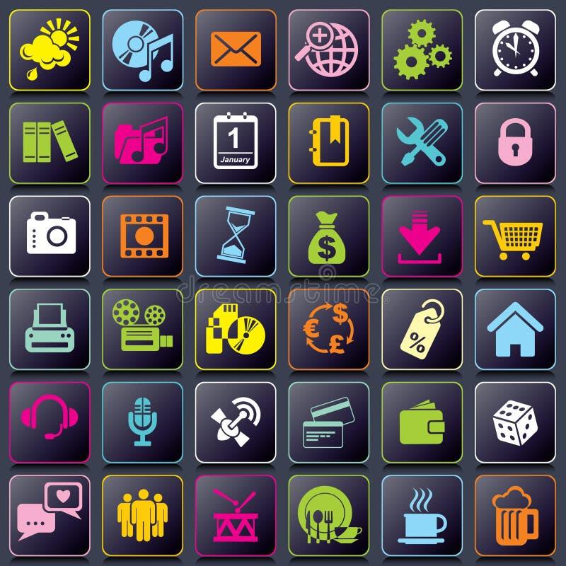 Slimme Telefoonapp pictogrammen stock illustratie