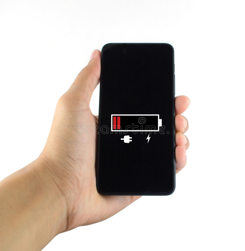 Slimme telefoonbatterij lage witte achtergrond royalty-vrije stock afbeelding