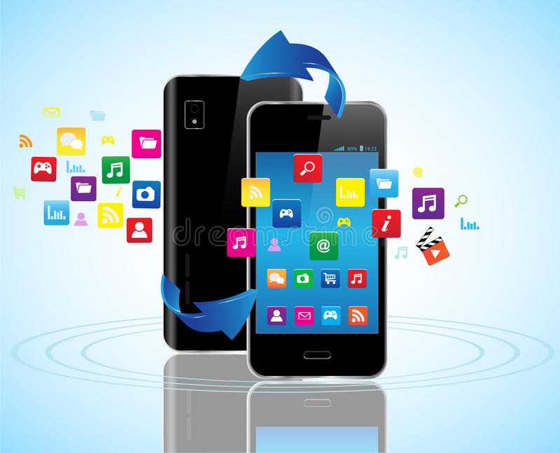 Slimme telefoons apps stock illustratie