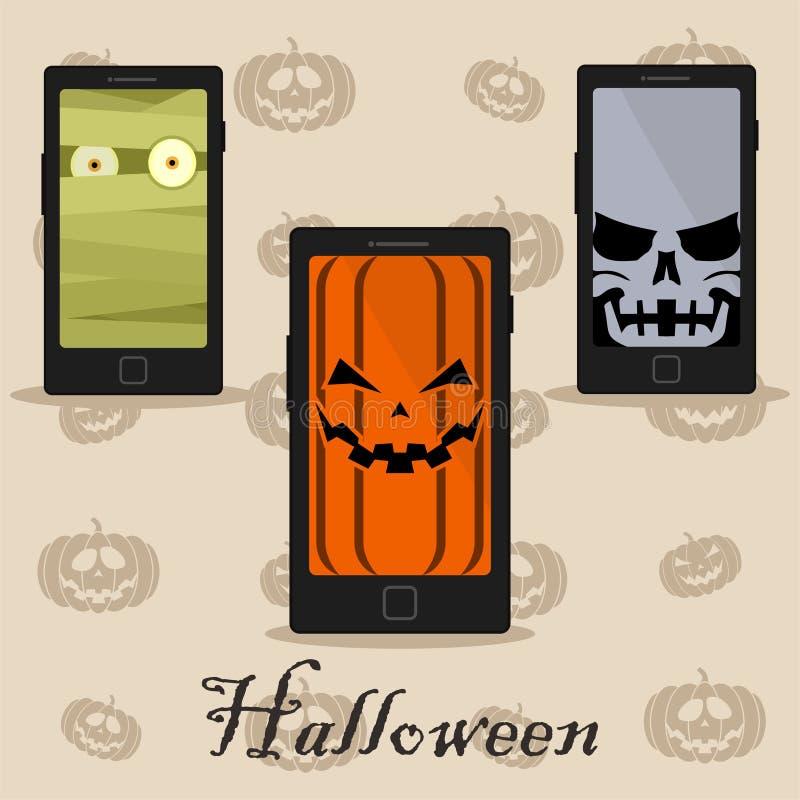 Slimme telefoons met Halloween stock illustratie