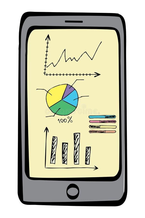 Slimme telefoonschets met de bedrijfselementen van krabbelfinanciën of vector illustratie