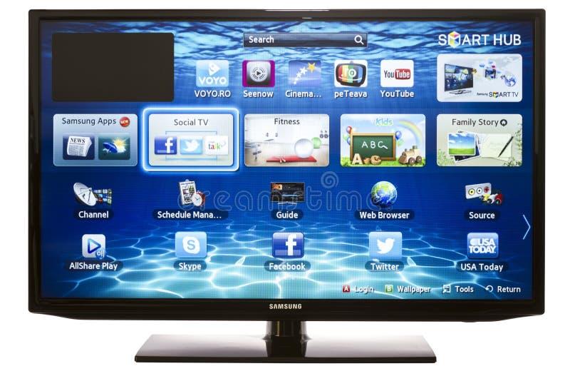 Slimme TV met Samsung Apps en Webbrowser stock foto
