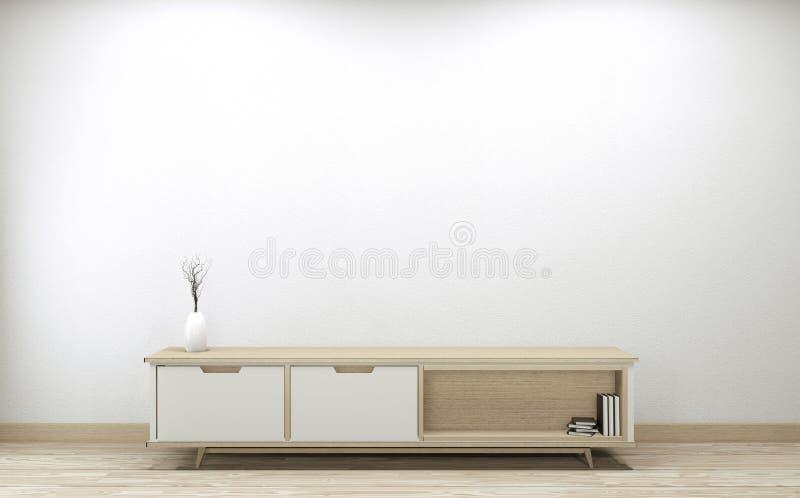 Slimme tv omhoog zetten dankzij het ontwerp van de behuizing, minimale witte achtergrond van de room 3D-rendering vector illustratie