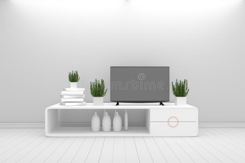 Slimme TV - Spot omhoog - de witte stijl van de conceptenwoonkamer - wit modern ontwerp het 3d teruggeven royalty-vrije illustratie