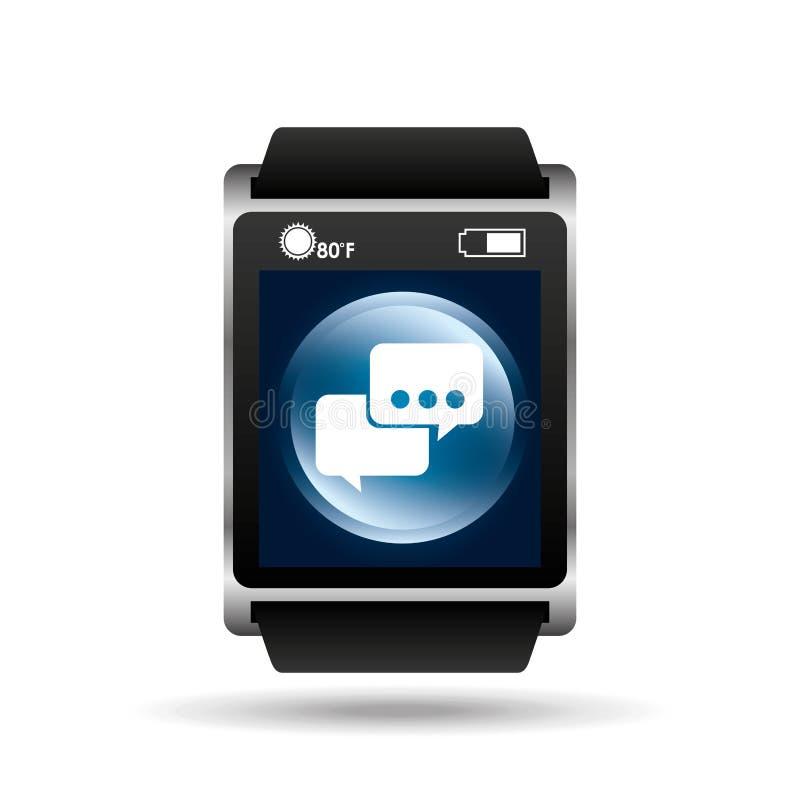 Slimme van de de bellentoespraak van het horloge blauwe scherm het pictogrammedia vector illustratie