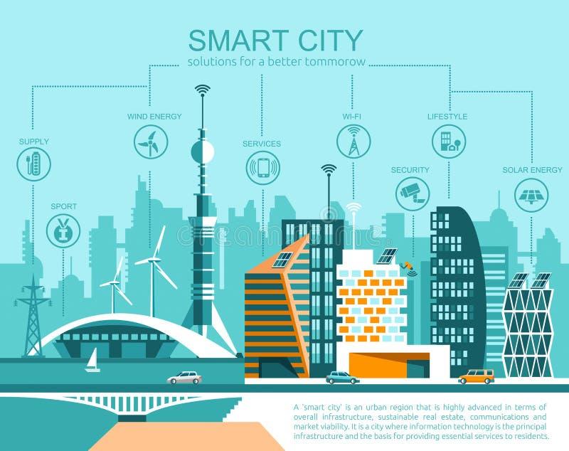 Slimme vlakke stad cityscape achtergrond met verschillende pictogram en elementen stock illustratie