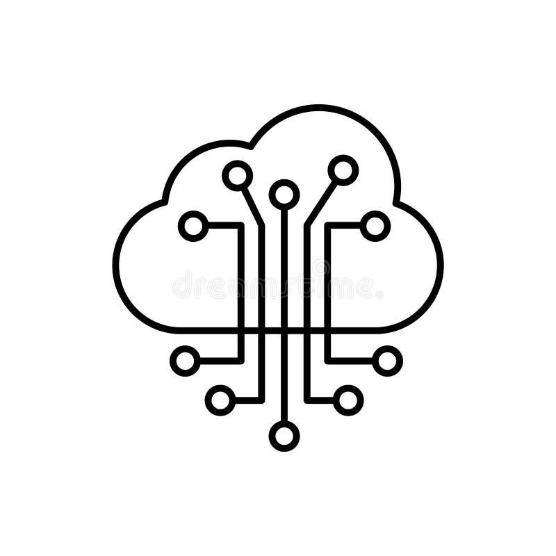 Slimme wolk, informatie, netwerkpictogram - Vector Kunstmatige intelligentie stock illustratie