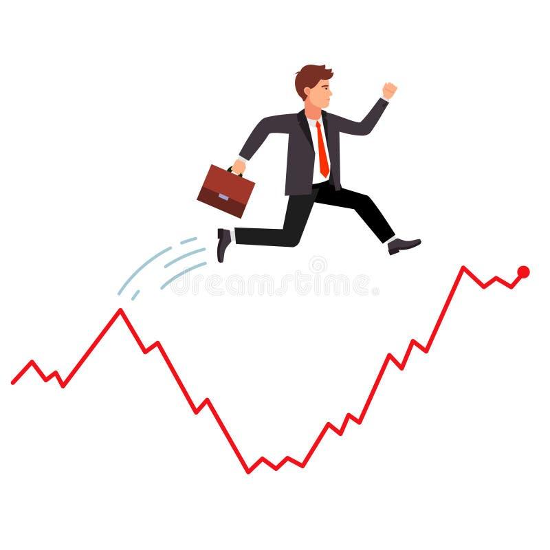 Slimme zakenman die over marktcrisis springen vector illustratie
