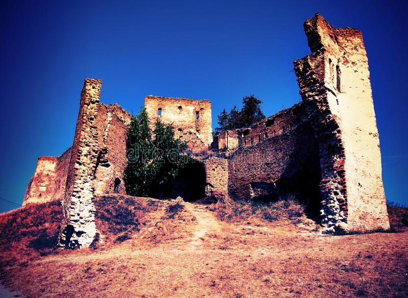 Slimnic castle. Middle age fortress The Slimnic castle was presumably built in the XIII th century. In the XIV-XV th century's it suffered some changes royalty free stock photography