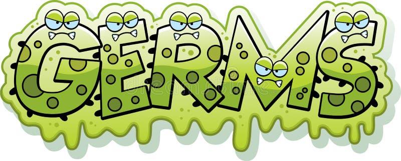 Slimy κείμενο μικροβίων κινούμενων σχεδίων διανυσματική απεικόνιση