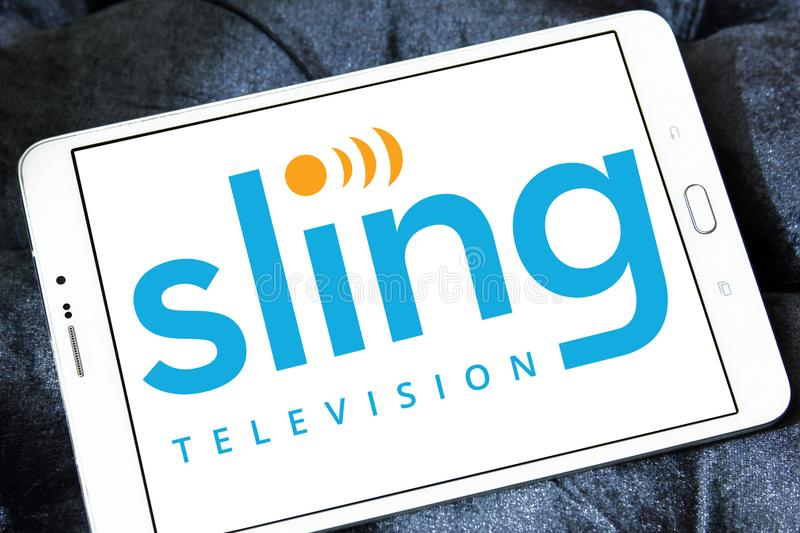 Sling TV logo. Logo of Sling television on samsung tablet . sling is an American over-the-top internet television service, aims to complement subscription video stock photos