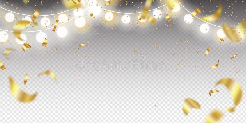 Slinger en Gouden confettien op een transparante achtergrond Malplaatje voor Vakantieontwerp Vector illustratie stock illustratie