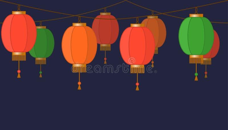 Slinger met Chinese lantaarnketting, rode Aziatische traditionele document lampen op donkere achtergrond, feelichten, footer en b stock illustratie