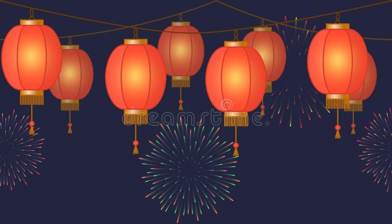 Slinger met Chinese lantaarnketting, rode Aziatische traditionele document lampen op donkere achtergrond, feelichten met vuurwerk royalty-vrije illustratie