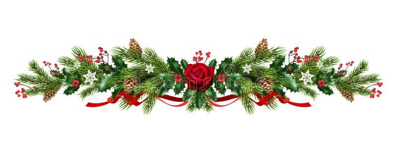 Slinger met rozen en pijnboom vector illustratie