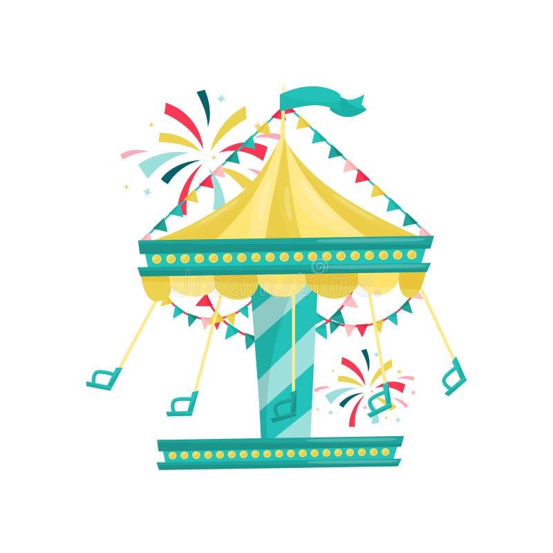 Slingerende die carrousel met stoelen met bunting vlaggen worden verfraaid Reuzenrad bij night Funfairaantrekkelijkheid Vlak vect royalty-vrije illustratie