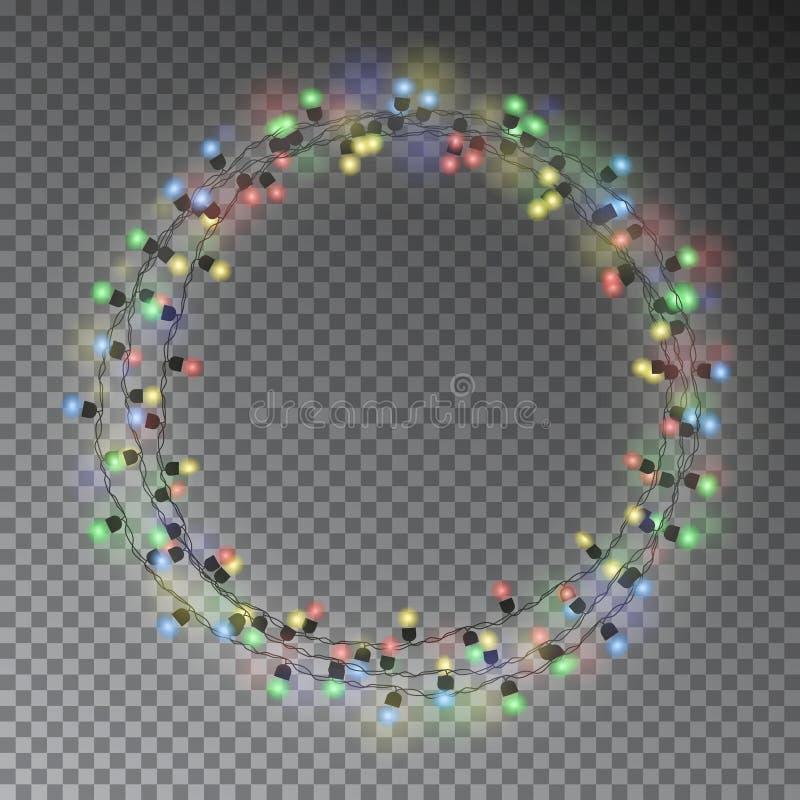 Slingerkroon, de decoratie van het Kerstmiskoord Kerstmislichten w royalty-vrije illustratie