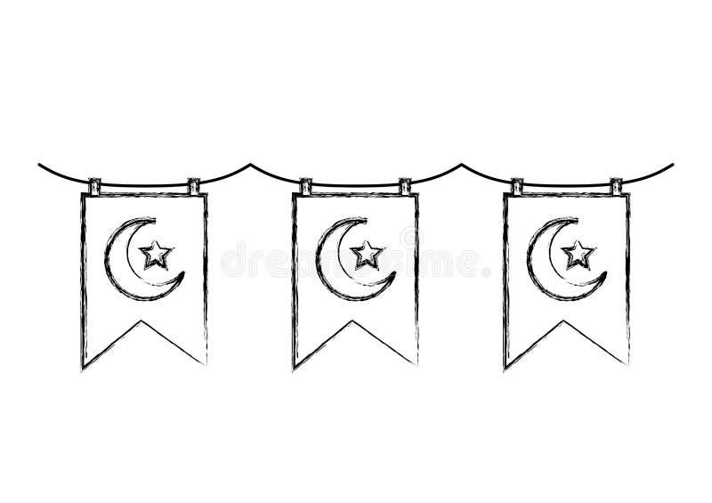 Slingers met het toenemende maan en ster hangen royalty-vrije illustratie