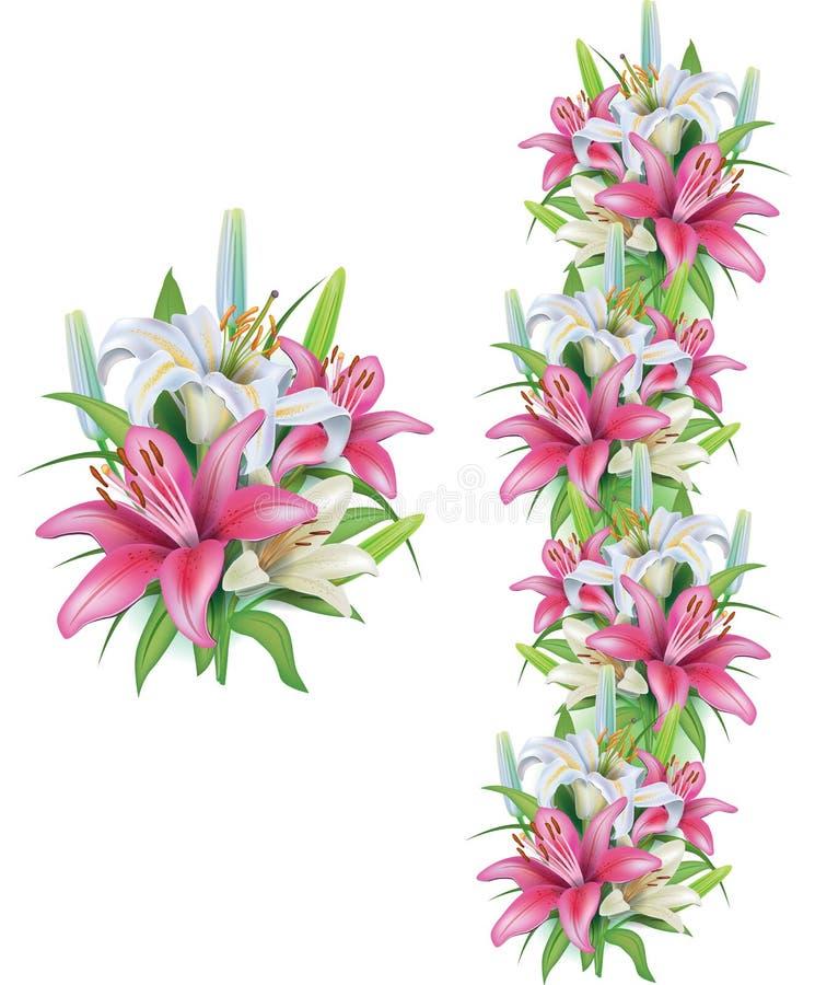 Slingers van leliesbloemen royalty-vrije illustratie