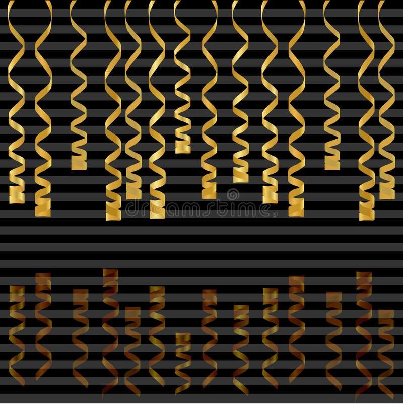 Slingrande band som isoleras på bakgrund Vektorillustration av guld- garnering Fallande guld- garnering för partiet, födelsedag vektor illustrationer
