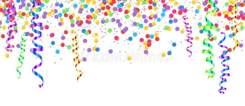 Slingrande färgrik vektor och konfettier som isoleras på vit, feriebakgrund royaltyfri illustrationer