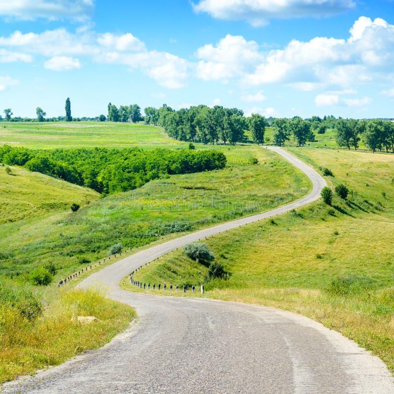Slingrig asfaltväg bland fält i bygd arkivfoton