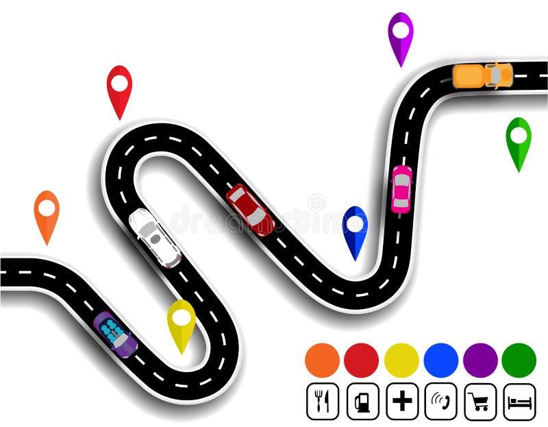 Slingrig väg med tecken Rörelsen av bilar Banan specificerar navigatören illustration royaltyfri illustrationer